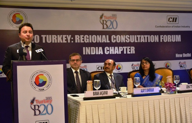 Mr Ali Babacan, Deputy Prime Minister, Turkey, Burak Akçapar, Ambassador of Turkey, Mr Ajay S Shriram, President CII at the B20 Turkey Regional Consultation Forum (New Delhi, 6th April, 2015)