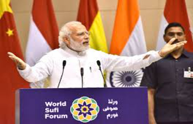 Hon'ble PM Modi addressing the World Sufi  Forum, New Delhi, March 17, 2016.