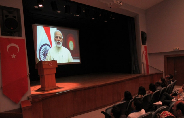 Prime Minister Shri Narendra Modiji's message on the occasion of second International Day of Yoga screened at METU Auditorium