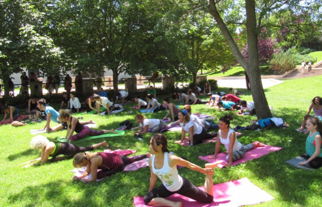 Participants trying ASANAS during Yoga Master Class