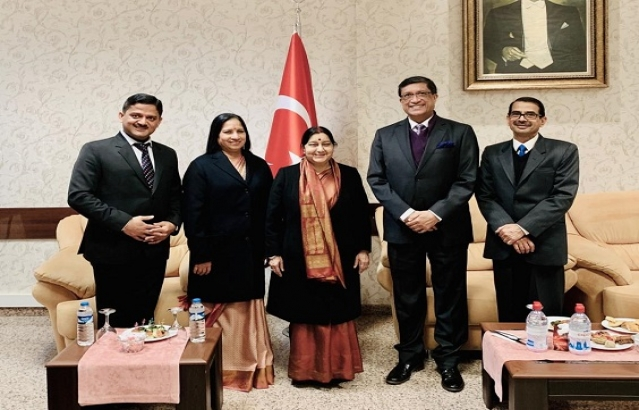 Transit visit of Honble Minister of Foreign Affairs, Ms. Sushma Swaraj to Turkey on    February 19, 2019