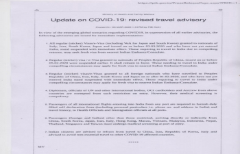 Advisory on COVID19 issued by the Ministry of Information and Broadcasting