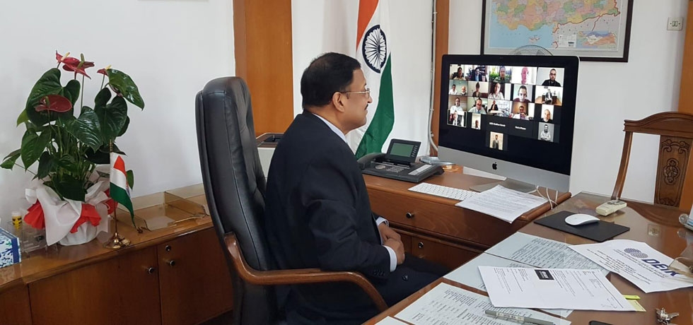 Ambassador Sanjay Panda interacting online with DEIK on July 07, 2020, for taking India Turkey Business relations to next level