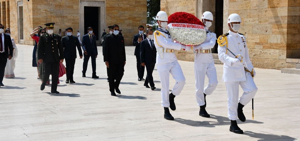 Ambassador of India H.E. Sanjay Panda pays floral tributes at Anitkabir, the Mausoleum of Mustafa Kemal Ataturk, following his credential presentation ceremony.
