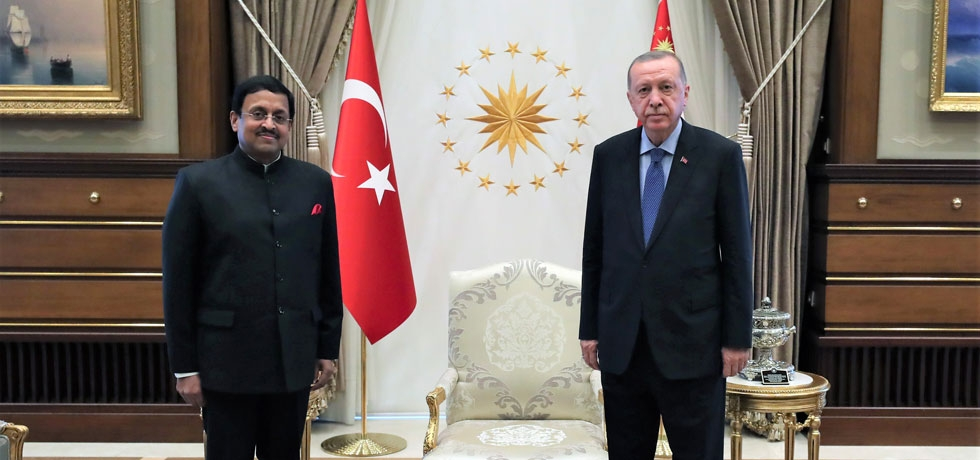 Ambassador of India presented his credentials on Aug 19, 2020, to the President of Turkey H.E. Recep Tayyip Erdogan