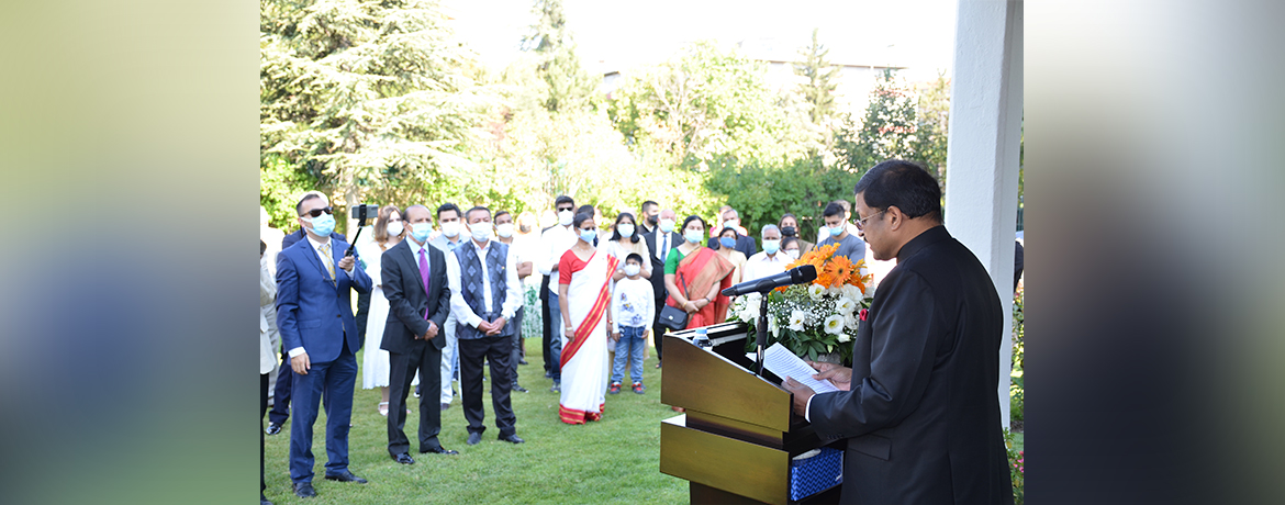 Ambassador of India addressing the attendees on occasion of 74th Independence Day 2020.