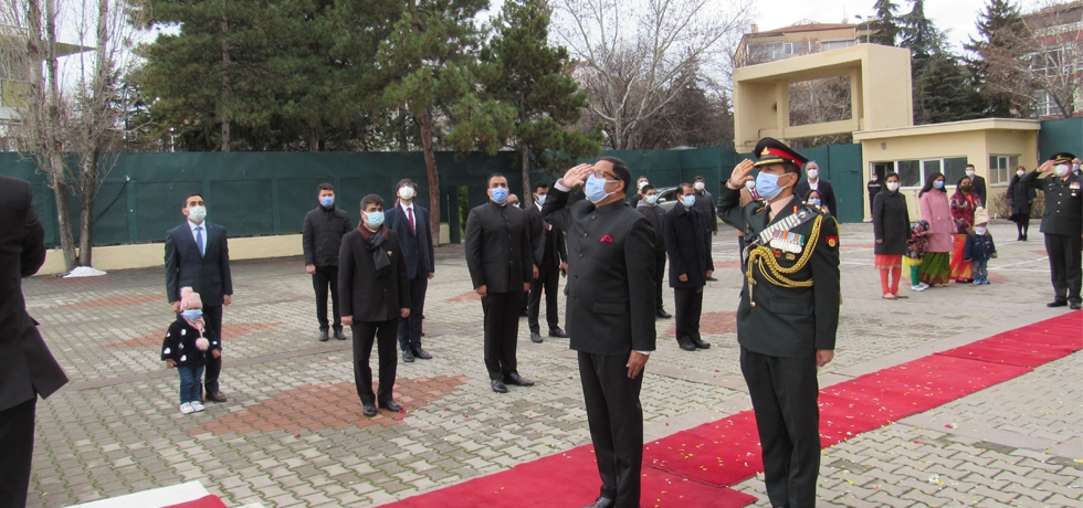Ambassador Sanjay Panda saluting the national flag on Republic Day 2021