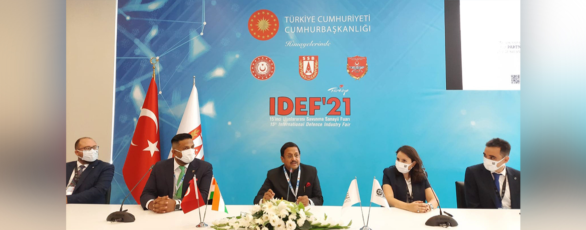 Ambassador at the Partnership agreement sigining ceremony between DCM Shriram Ltd of India and Zyrone Dynamics of Turkey, at IDEF 2021 in Istanbul