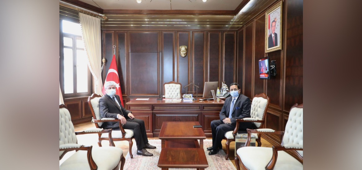 Ambassador of India Sanjay Panda meeting Hatay Governor Dogan Rahmi on March 11, 2021