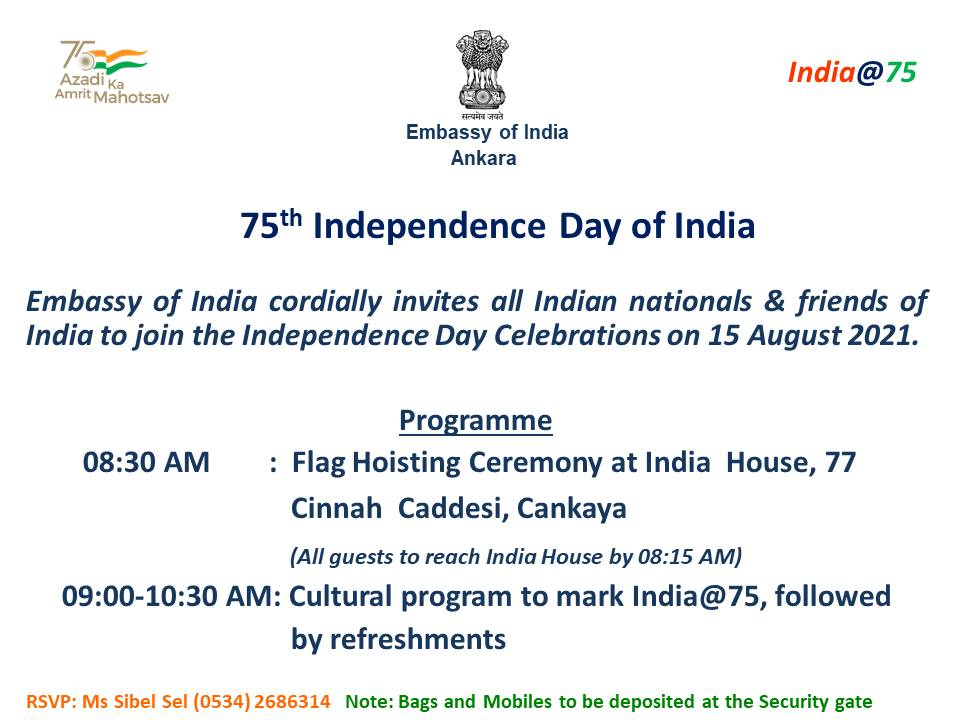 75th Independence Day of India -All Indian nationals and Friends of India are invited to attend the 75th Independence Day function at India House